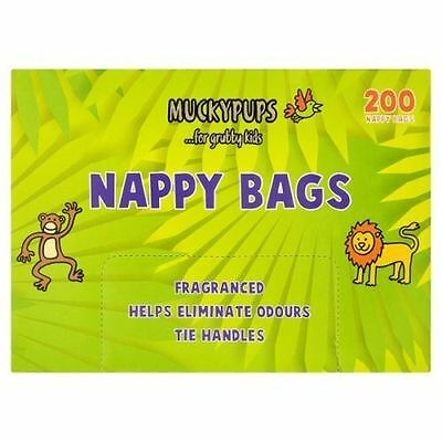MUCKYPUPS Nappy Bags FRAGRANCED WITH TIE HANDLES X 200