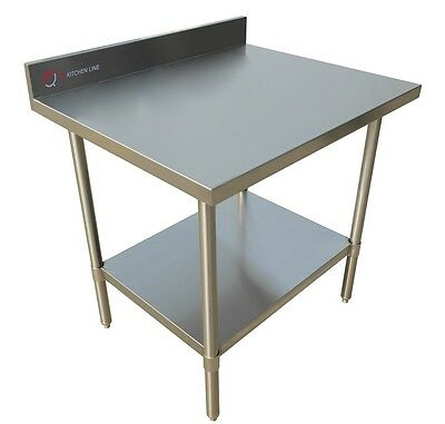 "EQ Stainless Steel Kitchen Restaurant Work Surface Backsplash Table 30""X30""X34"""