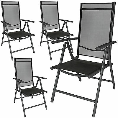 Set 4 Aluminium folding garden chairs outdoor camping patio furniture anthracite