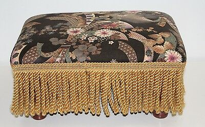 JC Penny Black Empress Garden Footstool with Fringe
