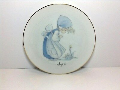 "Vtg=1983=Precious Moments=""april""-Plate By Johnathan David=Made Japan-Resurrecti"