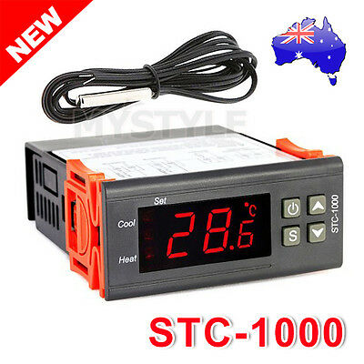 220-240V Digital Temperature Controller Temp Sensor Thermostat Genuine STC-1000