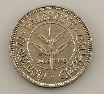 1935 Palestine 50 Mils (AU) About Uncirculated Condition