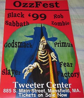 Ozz Fest Black Sabbath/slayer/primus 1999 Replica Concert Poster W/top Loader