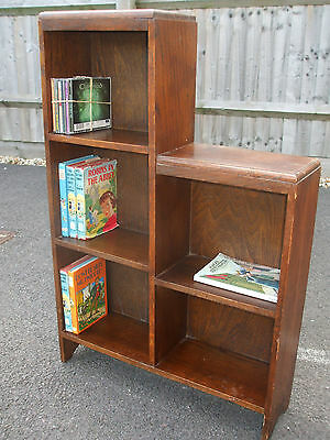 Original 1930s Art Deco stepped oak bookcase, very practical, economy delivery