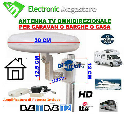 Antenna Tv Digitale Terr, Amplificata Omnidirezionale Per Balcone Camper Barca