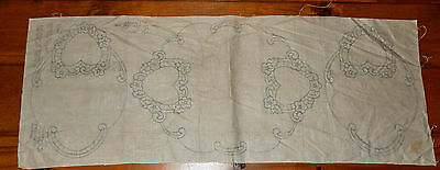 3 Piece Vintage Stamped Linen Embroidery Cut Work Buffet Set Doilies Hearts