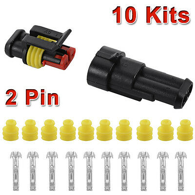 10 Set 2 Pin Way Sealed Waterproof Electrical Wire Connector Plug Car Auto MA478