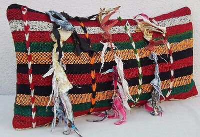 Boucherouite Berber Moroccan Kilim Rug Pillow Cover 12x24'' Multicolor Cushion