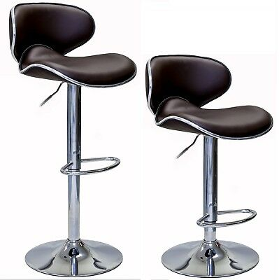 OASIS Swivel Leather Adjustable Hydraulic Bar Stool, Set of 2