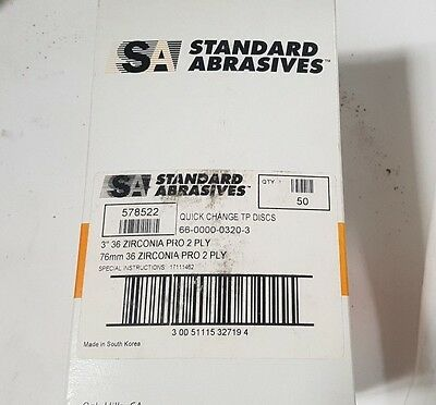 "50 Pcs Standard Abrasives SOCATT Quick Change TP Disc Scotch 578522 3"" 36 2 PLY"