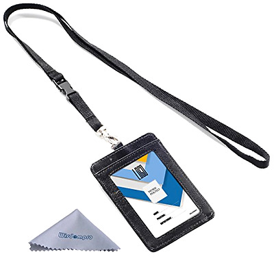 ID Badge Holder 2 Sided Vertical Document Sleeve Holds Up To 4 Cards Black