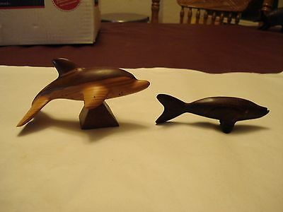 Vintage Pair of Carved Wood Figurines, 1 Dolphin, 1 Dark Fish