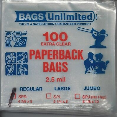 """100 Bags Unlimited 2.5-mil Extra Clear Paperback Sleeves 4-7/8"""" x 8"""" SPR w/flap"""