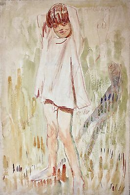 """Lady Edna Clarke Hall (British 1879-1979) Watercolor """"Young Boy"""" about 1910-15"""