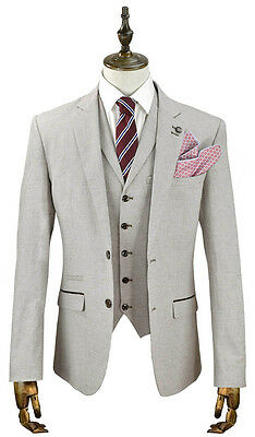 Mens Beige Linen Tailored Fit 3 Piece Designer Suit - Ideal For Summer Weddings