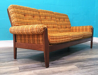 Superb Quality Striking Retro Mid Century 70S Afromosia Orange Sofa