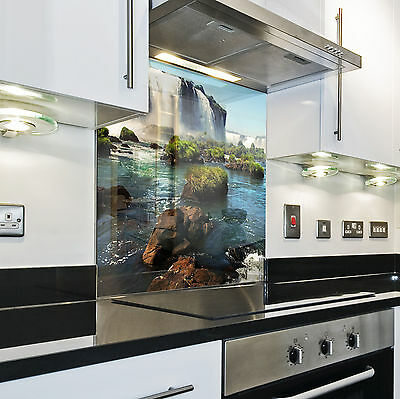 Kitchen Tempered Glass Splashback Protection waterfall water blue