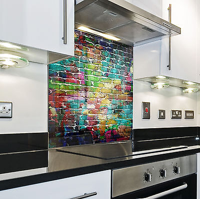 Kitchen Tempered Glass Splashback Protection brick pattern colorato