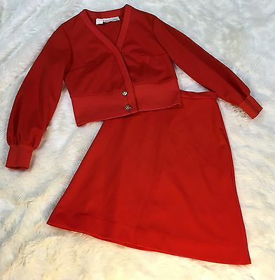 TONI TODD Vintage 2-piece Cropped Jacket A-Line Skirt Suit Red Sz S