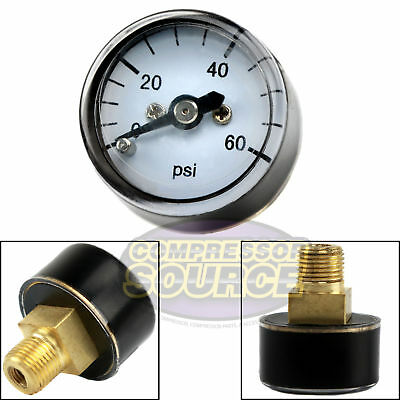 "1/8"" MNPT Mini / Micro Air Pressure Gauge 0-60 PSI 1"" Face CBM Center Back Mount"