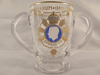 Beautiful Edward VIII Two Handled Intaglio Gilt Engraved Coronation Mug Cup 1937