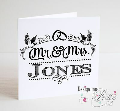 PERSONALISED - MR AND MRS - Wedding Day Card Husband And Wife Married