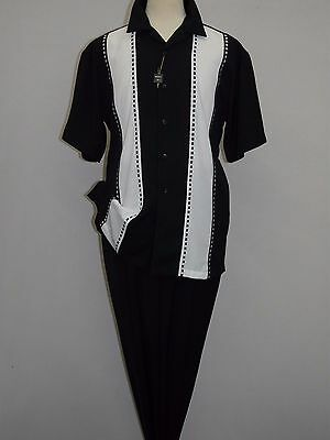 Mens INSERCH 2pc Set Walking Leisure Slacks Suit Short Sleeves 80956 Black White