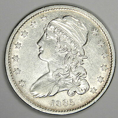 1835 Bust Quarter - Nice Au About Uncirculated! (Inv#c10)