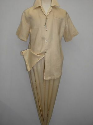 Men Giorgio Inserti Inserch 2pc linen walking suit Short Sleeves 93C34 Beige New