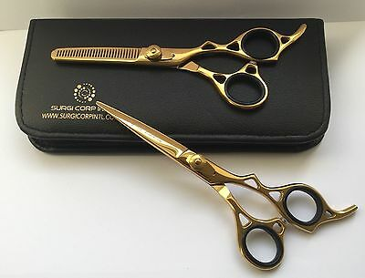 """6"""" Professional Hairdressing Scissors Barber Hair Cutting Shears Set Gold"""
