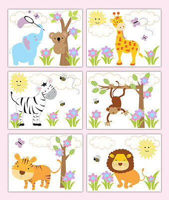 Safari Nursery Prints Animal Wall Art Jungle Zoo Baby Girl Elephant Monkey Decor