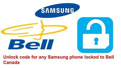 Unlock code for Samsung Galaxy S7, S8, S8 Plus, S9 locked to Bell Canada