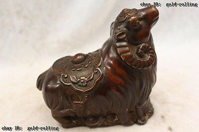 "5""Chinese Purple Bronze carved eximous lifelike Lucky Money Sheep Statue"