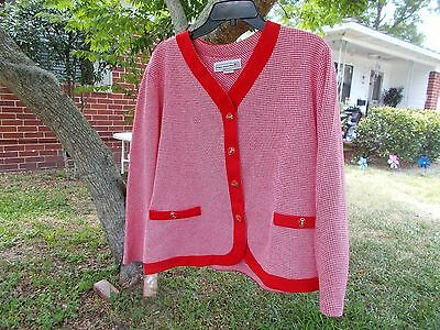 Vintage Checkered Jacket red white long sleeves by pablo collection sz 18 p