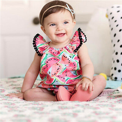 Watermelon Baby Girls Kids Fly sleeve Romper Bodysuit Jumpsuit Outfits Sunsuit