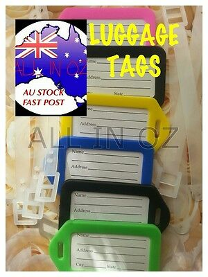 Luggage Tags Labels with Belt Plastic Clip On Travel Bag Suitcase ID AU STOCK