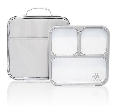 BENTO BOX LUNCH LEAK PROOF BPA FREE 3 Portion Insulated Lunchbox Container Slim