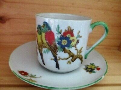 Antique Cup and Saucer Hand Painted Birds