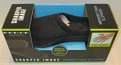 Sharper Image Memory Foam Slippers Black Suede Mens Large 9-10 New In Box