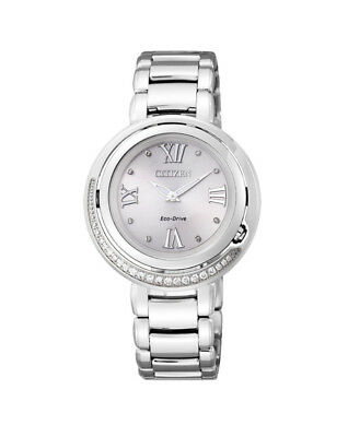 NEW Citizen Ladies Silver Stainless Steel Eco-Drive Diamond Watch - EX1120-53X