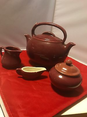 vintage hall pottery DEEP PINK TEAMASTER TEAPOT TWO SIDED W/ 3 OTHER PIECES
