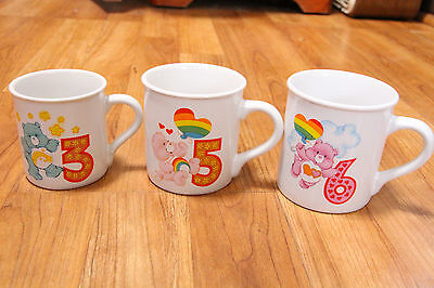 Vintage Care Bears Mug Set American Greetings Birthday Years 3, 5, 6 Stoneware