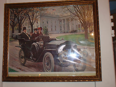 Antique Framed Car Advertisement Humble Oil & Refining Company 18 1/2 X 15 1/2