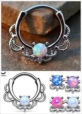 Surgical steel Silver Plated Hinged Clicker Septum Hoop Ring with Opal Nose Ears