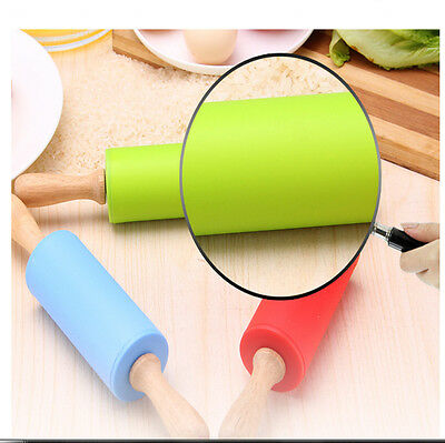 Rolling pin Non-stick Durable Backing Wooden Silicone Roller Green Kitchenware