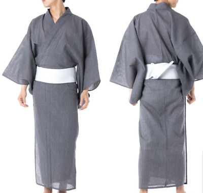 Japanese Men's Traditional YUKATA Summer KIMONO Jacket JAPAN G-2 Gray