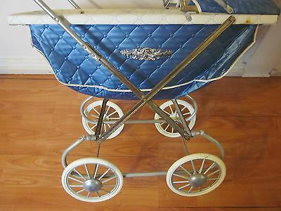 VINTAGE ANTIQUE BABY DOLL CARRIAGE STROLLER diamond pleats