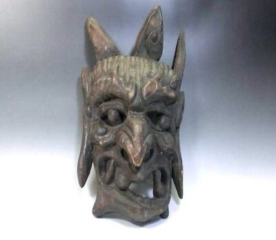 JAPANESE ANTIQUE MASK DEMON DEVIL LACQUER HANNYA NOH r300