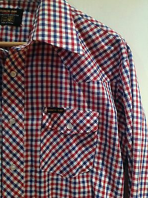 ORIGINAL VINTAGE USA Red & Blue COWBOY WESTERN Check SHIRT XL Rockabilly RETRO